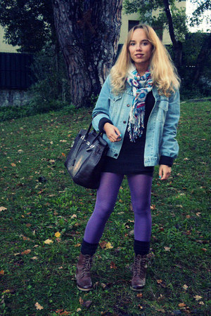 blue Levis jacket - dark brown Hermes bag - purple Calzedonia tights - dark brow
