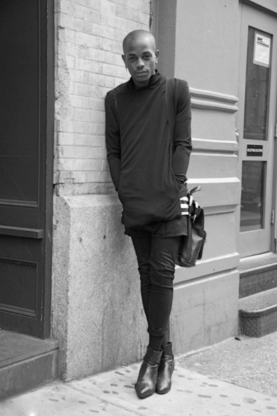 dark gray vitange boots - dark gray Rad Hourani jacket - black vintage bag