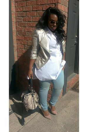 jacket - jeans - snakeskin bag - Timberland glasses - Steve Madden pumps