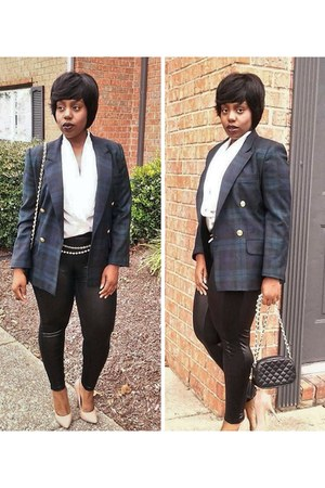 tartan blazer - black quilted chain bag - wrapsilk blouse - pumps