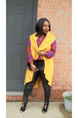 black faux leather bag - mustard cardigan
