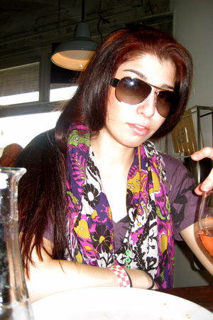 Nordstrom scarf - Some London Store t-shirt - Prada sunglasses