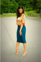 mustard Forever 21 skirt - Michael Kors shoes - yellow Forever 21 top