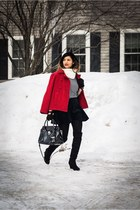 black skirt skirt - black high knee boots boots - red red jacket jacket