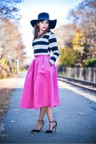 black hat - black shoes - silver accessories - hot pink skirt - black top