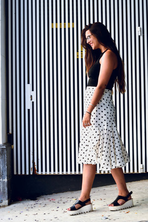 black Zara top - white zaful skirt