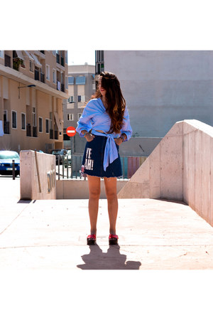 light blue Newchic shirt - navy sammydress skirt - red Xica Chic sandals