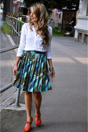 linen H&amp;M skirt - fashion H&amp;M shoes - linen Mango blouse