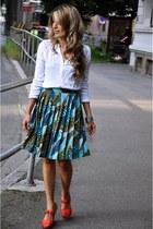 fashion H&M shoes - linen H&M skirt - linen Mango blouse