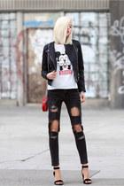 black jacket - white top