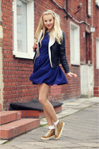 navy Front Row Shop dress - black new look jacket