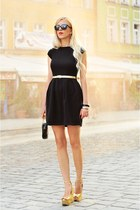 black Mohito dress - black Mohito bag - gold Zara wedges