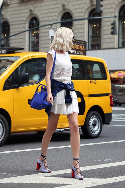 white Pepe Jeans dress - blue DKNY bag