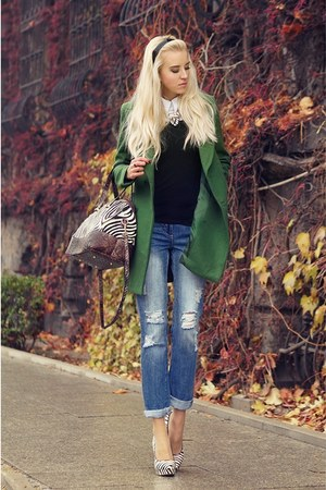 dark green Zara coat - sky blue new look jeans - white Laza bag