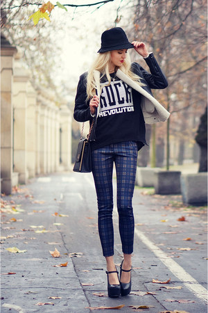 black new look jacket - navy Zara pants - black Wilady heels