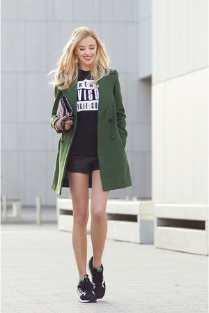 dark green Zara coat - black PERSUNMALL t-shirt - black Adidas sneakers