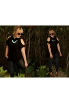 black C& blouse - navy Mango jeans - tan Forever 21 sandals
