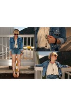 sky blue vintage jacket - sky blue H&M shorts - tan Forever 21 sandals