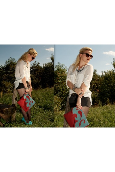 Zara blouse - DIY bag - American Apparel shorts