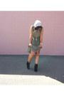 Black-fringe-h-m-boots-olive-green-pleated-bar-iii-dress