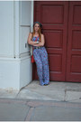 Charcoal-gray-vintage-hat-coral-studded-forever21-bag-blue-floral-print-fore