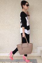 Tally Weijl t-shirt - david jones bag - New Yorker blouse - Tally Weijl heels