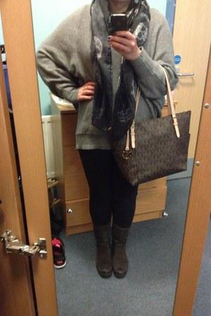 Zara scarf - Tommy Hilfiger boots - Debenhams jeans - Michael Kors bag