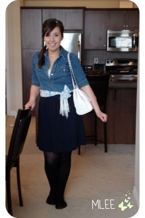 blue Brody shirt - white Ebay purse - blue Joe Fresh skirt - black tights - scar