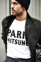 APC hat - SANDRO jacket - maison kitsune t-shirt