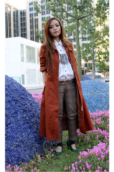 burnt orange trench coat Vintage thrift jacket - white Vintage thrift shirt - gr