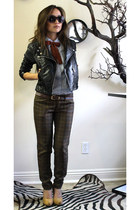 H&M jacket - thrifted vintage tie - mustard pumps f21 heels - plaid prtint aberc