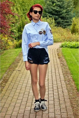 black shein shorts - blue shein shirt - black zaful sunglasses