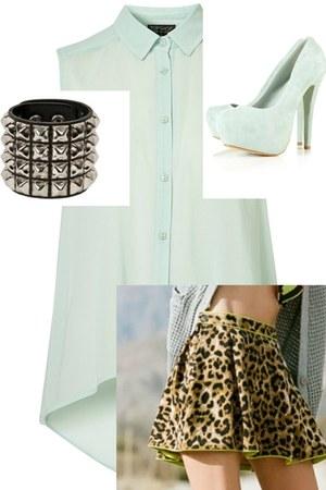Mink Pink skirt - studded Trash and Vaudevile bracelet - heels Topshop heels