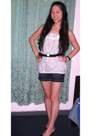white Sharlene top - blue CJ2 shorts - black belt - silver necklace - black Conn