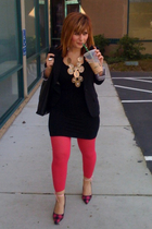 pink Target tights - pink Reflecions shoes - gold Forever 21 necklace - black We