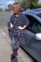 purple Sheiks boots - gray leggings - Macys dress - gray Forever 21 cardigan