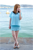 light blue Mango t-shirt - light blue PERSUNMALL skirt