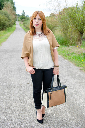 black H&M jeans - light brown Primark bag - white Massimo Dutti top