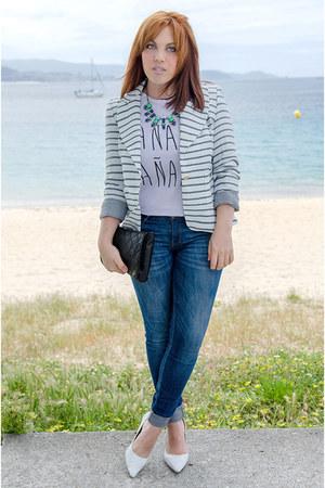 white PERSUNMALL blazer - navy Zara jeans - white blackfive t-shirt
