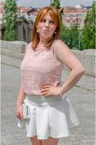 light pink Stradivarius top - cream OASAP skirt