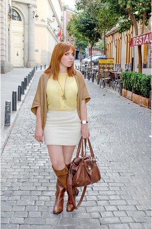 light yellow OASAP top - tawny Massimo Dutti boots - white suiteblanco skirt