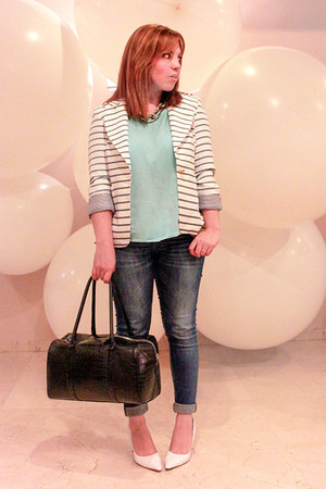 white PERSUNMALL blazer - navy Zara jeans - light blue Mango top