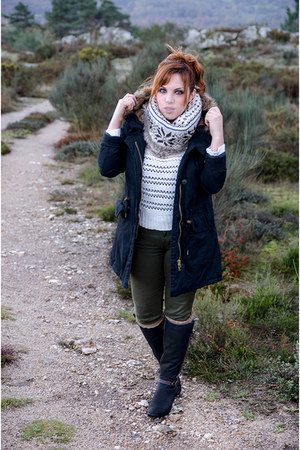 army green Zara jeans - black pull&bear jacket - brown suiteblanco socks