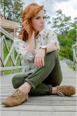 cream dresslily shirt - olive green Zara jeans - brown Massimo Dutti bracelet