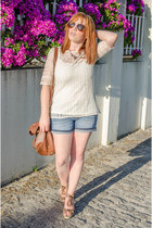 cream Massimo Dutti top - brown suiteblanco bag - navy c&a shorts