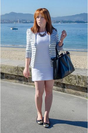 white Mango dress - white PERSUNMALL blazer - black Zara bag