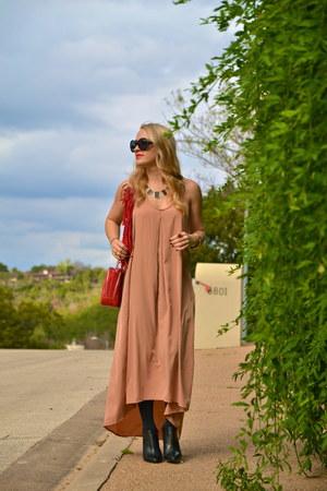 black wedges BCBGeneration boots - bronze tan Forever 21 dress