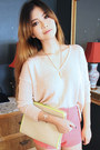 Light-pink-forever-21-sweater-silver-h-m-accessories