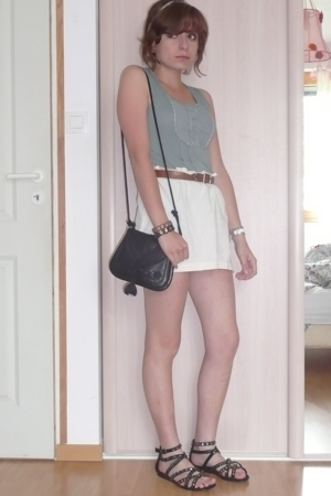 top - skirt - belt - shoes - purse