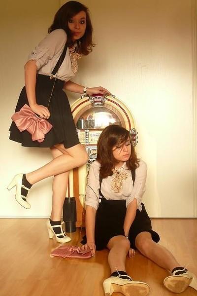 silver NafNaf top - black H&M skirt - beige Topshop shoes - pink vintage accesso